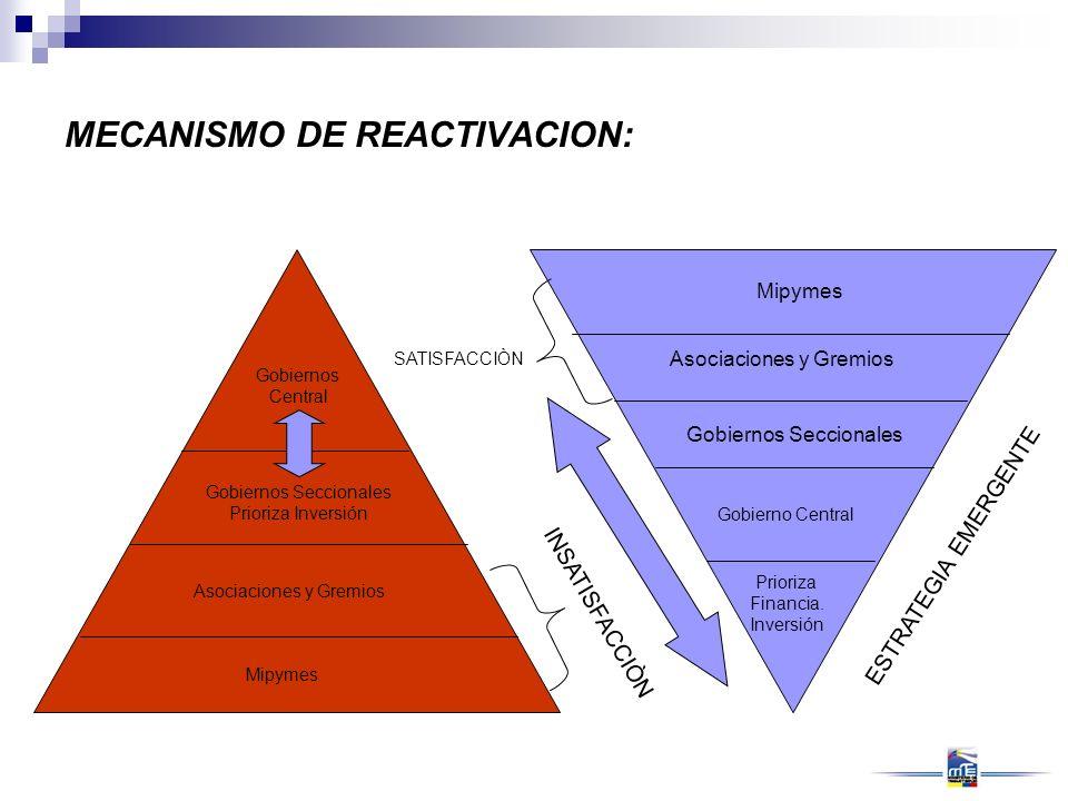 Asociaciones y Gremios Gobiernos Seccionales Gobierno Central Prioriza Financia. Inversión MECANISMO DE REACTIVACION: Mipymes Asociaciones y Gremios G