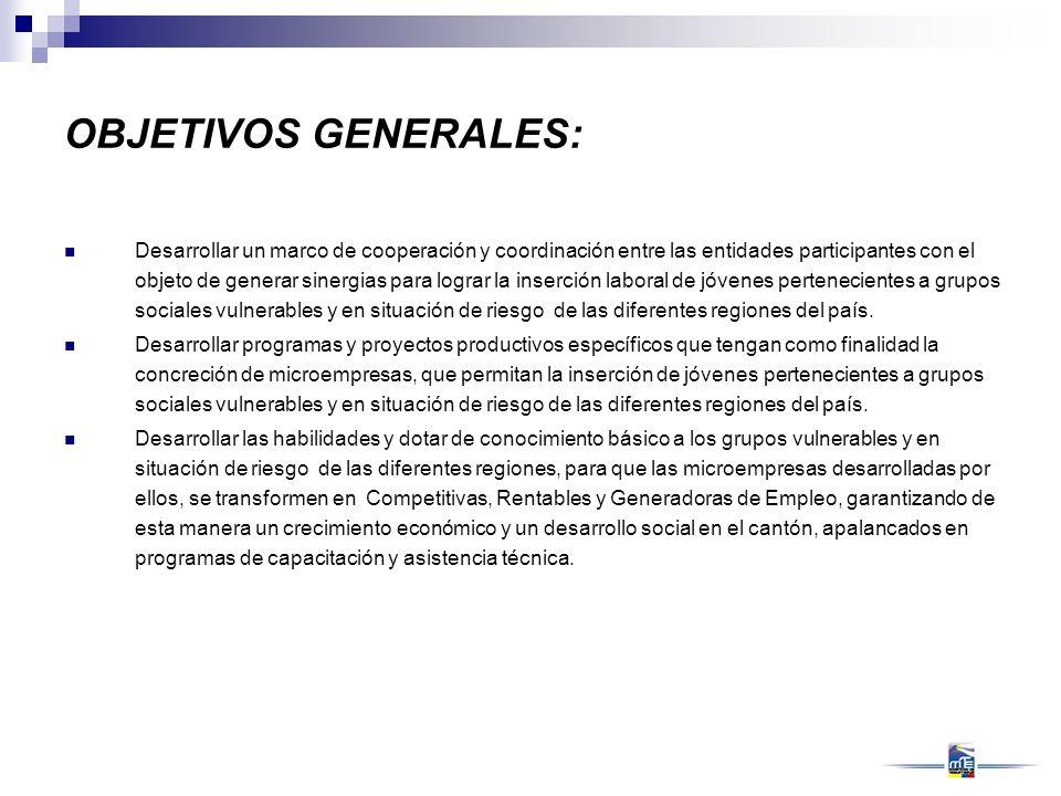 OBJETIVOS GENERALES: Desarrollar un marco de cooperación y coordinación entre las entidades participantes con el objeto de generar sinergias para logr
