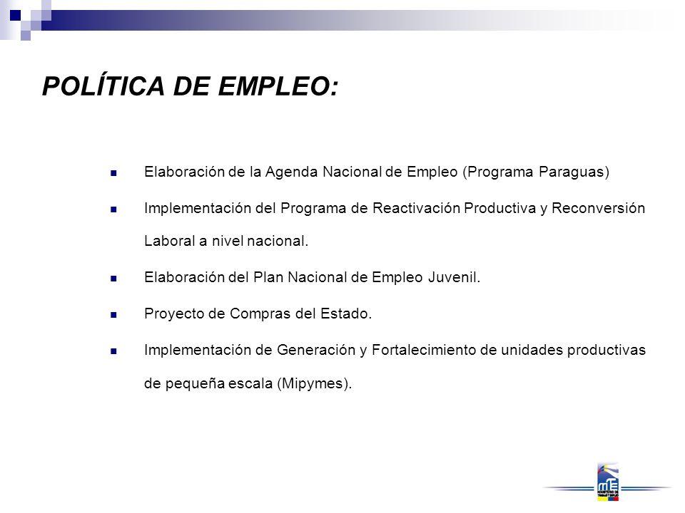 POLÍTICA DE EMPLEO: Elaboración de la Agenda Nacional de Empleo (Programa Paraguas) Implementación del Programa de Reactivación Productiva y Reconvers