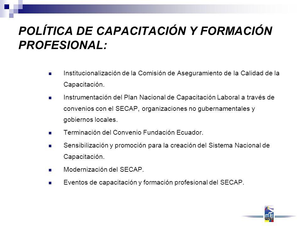 POLÍTICA DE CAPACITACIÓN Y FORMACIÓN PROFESIONAL: Institucionalización de la Comisión de Aseguramiento de la Calidad de la Capacitación. Instrumentaci