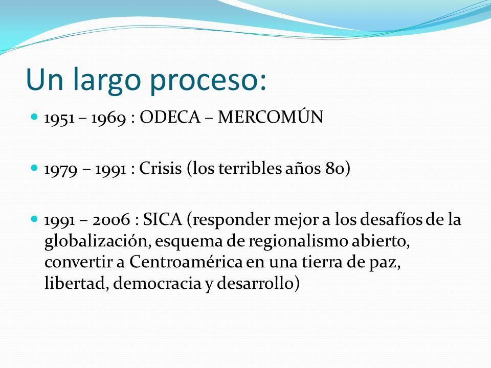 Un largo proceso: 1951 – 1969 : ODECA – MERCOMÚN 1979 – 1991 : Crisis (los terribles años 80) 1991 – 2006 : SICA (responder mejor a los desafíos de la