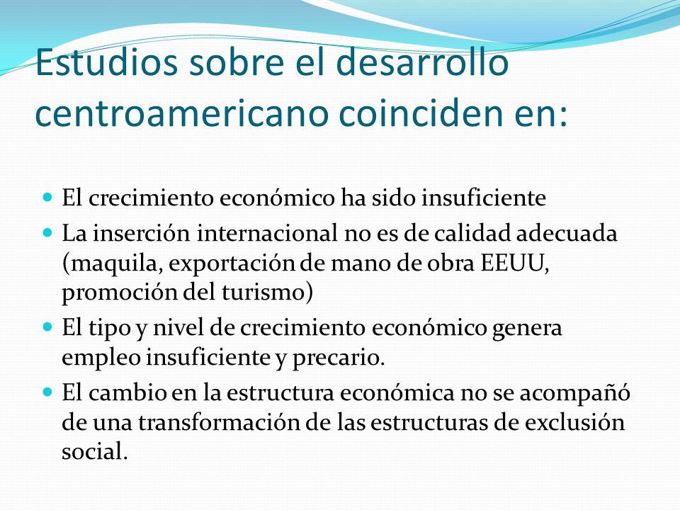 Estudios sobre el desarrollo centroamericano coinciden en: El crecimiento económico ha sido insuficiente La inserción internacional no es de calidad a