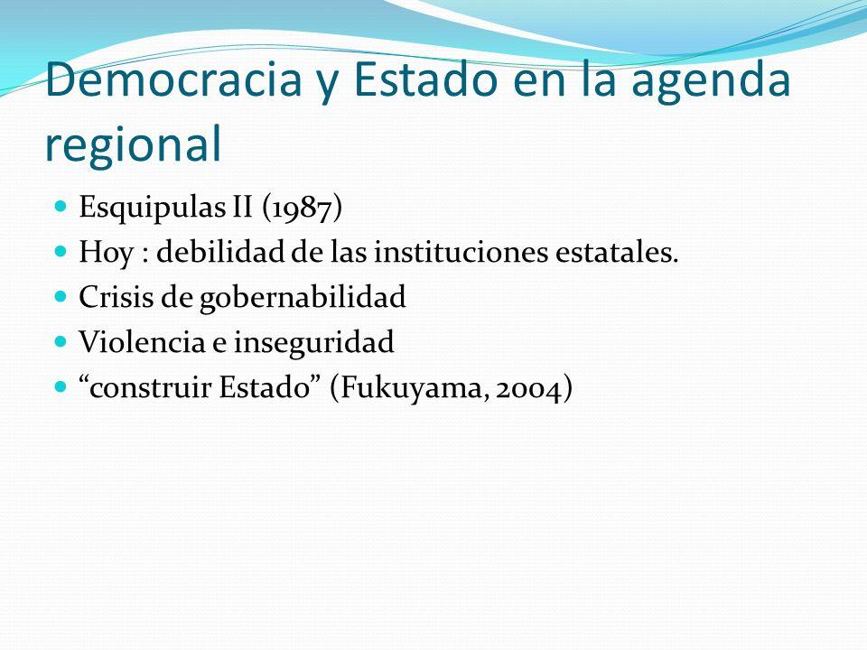 Democracia y Estado en la agenda regional Esquipulas II (1987) Hoy : debilidad de las instituciones estatales. Crisis de gobernabilidad Violencia e in
