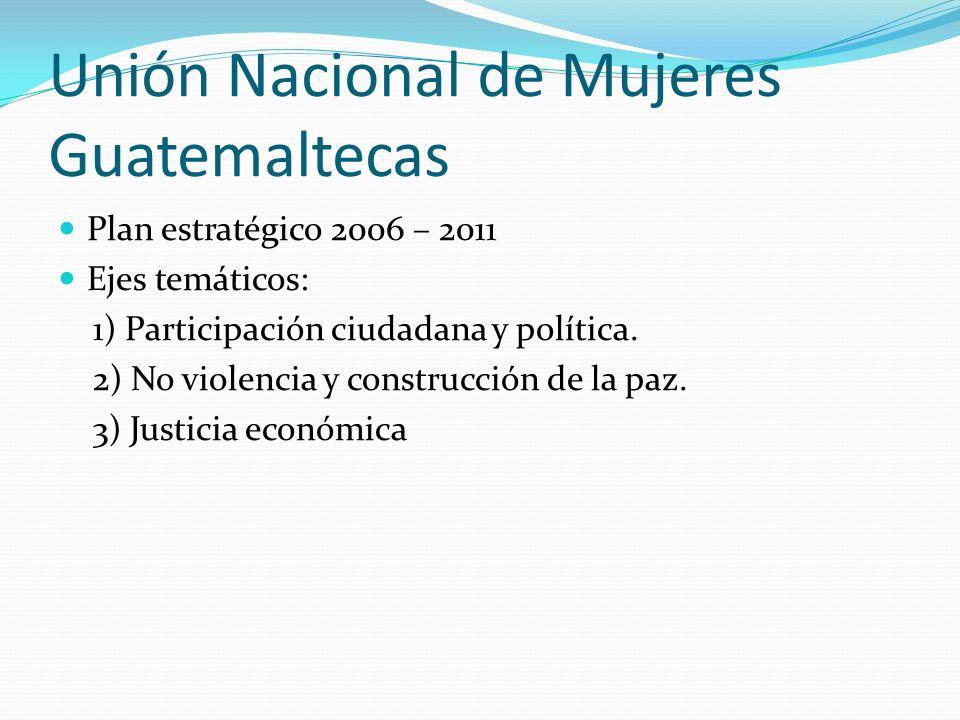 Unión Nacional de Mujeres Guatemaltecas Plan estratégico 2006 – 2011 Ejes temáticos: 1) Participación ciudadana y política. 2) No violencia y construc