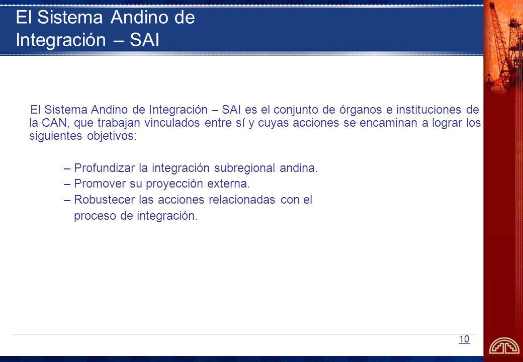 10 El Sistema Andino de Integración – SAI El Sistema Andino de Integración – SAI es el conjunto de órganos e instituciones de la CAN, que trabajan vin