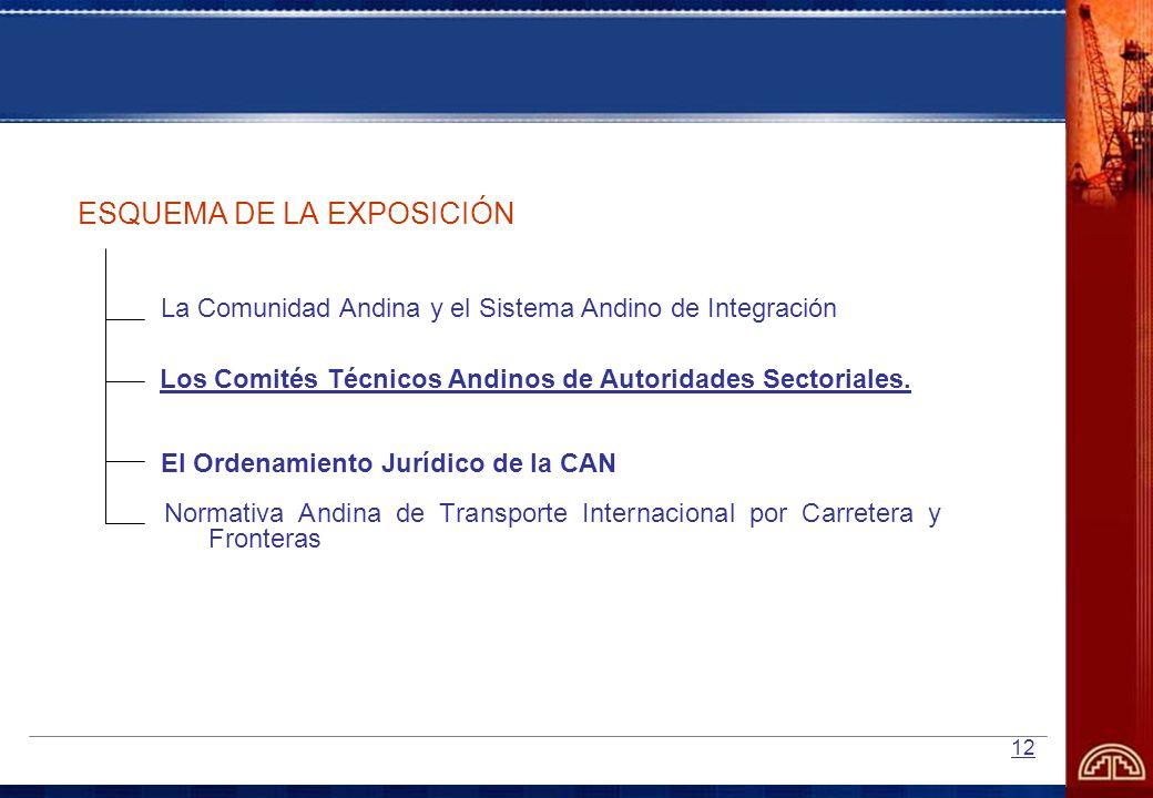12 ESQUEMA DE LA EXPOSICIÓN La Comunidad Andina y el Sistema Andino de Integración El Ordenamiento Jurídico de la CAN Los Comités Técnicos Andinos de
