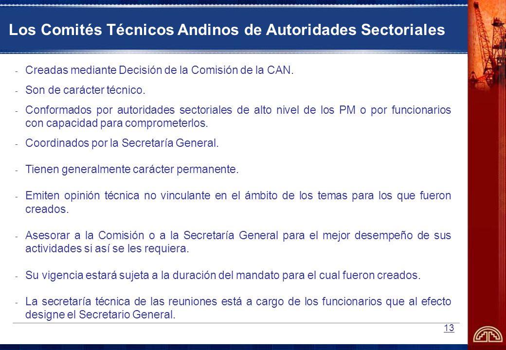 13 - Creadas mediante Decisión de la Comisión de la CAN. - Son de carácter técnico. - Conformados por autoridades sectoriales de alto nivel de los PM