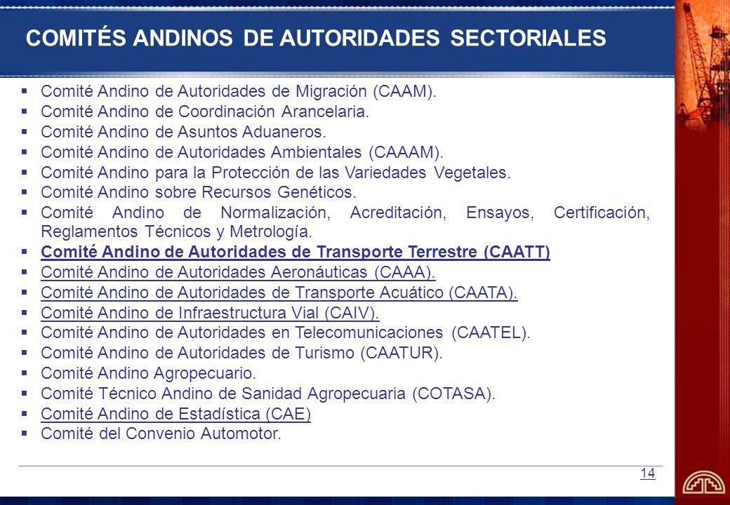 14 Comité Andino de Autoridades de Migración (CAAM). Comité Andino de Coordinación Arancelaria. Comité Andino de Asuntos Aduaneros. Comité Andino de A
