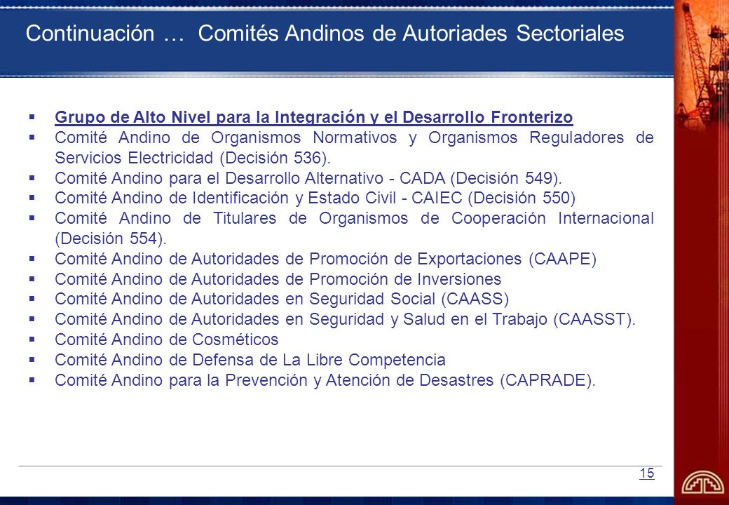 15 Grupo de Alto Nivel para la Integración y el Desarrollo Fronterizo Comité Andino de Organismos Normativos y Organismos Reguladores de Servicios Ele