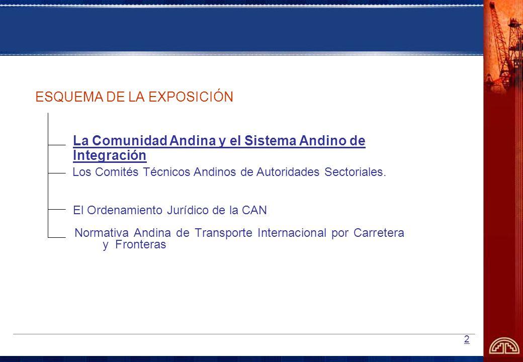 2 ESQUEMA DE LA EXPOSICIÓN La Comunidad Andina y el Sistema Andino de Integración El Ordenamiento Jurídico de la CAN Los Comités Técnicos Andinos de A