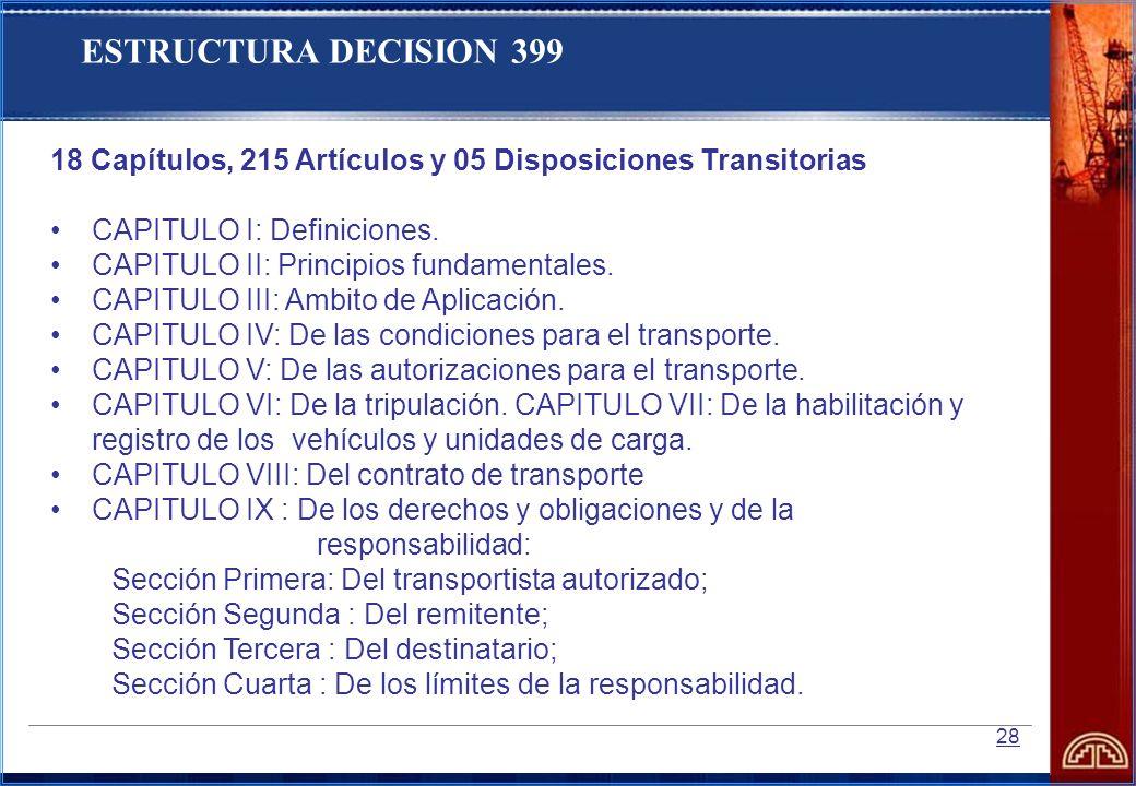 28 18 Capítulos, 215 Artículos y 05 Disposiciones Transitorias CAPITULO I: Definiciones. CAPITULO II: Principios fundamentales. CAPITULO III: Ambito d