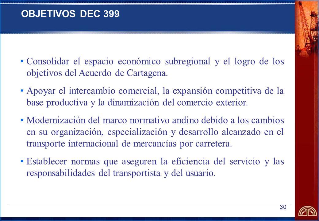 30 Consolidar el espacio económico subregional y el logro de los objetivos del Acuerdo de Cartagena. Apoyar el intercambio comercial, la expansión com