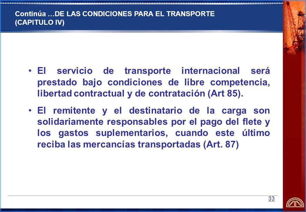 33 El servicio de transporte internacional será prestado bajo condiciones de libre competencia, libertad contractual y de contratación (Art 85). El re