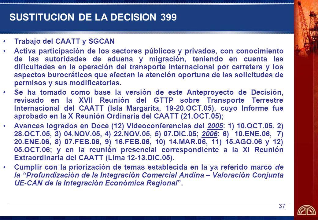 37 SUSTITUCION DE LA DECISION 399 Trabajo del CAATT y SGCAN Activa participación de los sectores públicos y privados, con conocimiento de las autorida