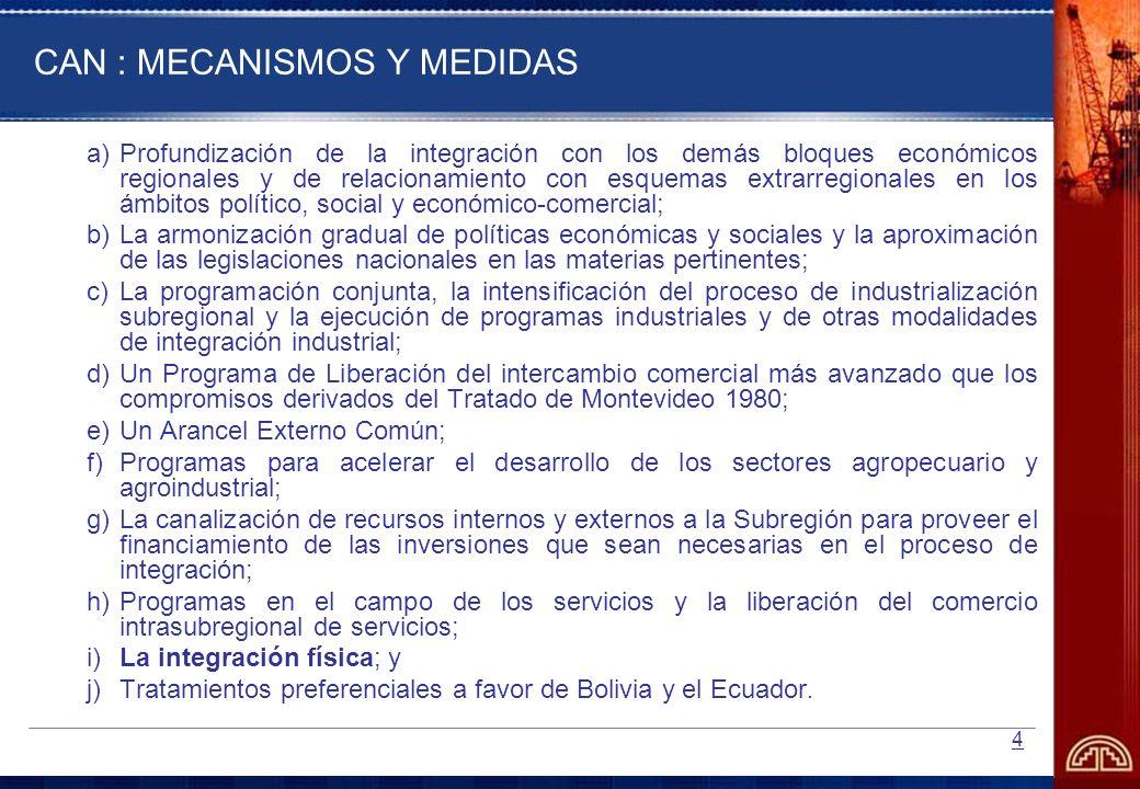 5 (Continuación …CAN: Mecanismos y Medidas) Complementariamente, se adelantarán, en forma concertada, los siguientes programas y acciones de cooperación económica y social: a)Programas orientados a impulsar el desarrollo científico y tecnológico; b)Acciones en el campo de la integración fronteriza; c)Programas en el área del turismo; d)Acciones para el aprovechamiento y conservación de los recursos naturales y del medio ambiente; e)Programas de desarrollo social; y, f) Acciones en el campo de la comunicación social.