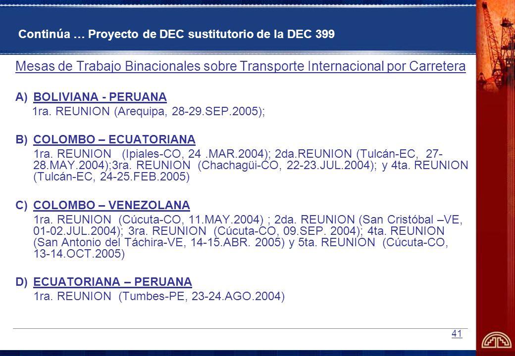 41 Continúa … Proyecto de DEC sustitutorio de la DEC 399 Mesas de Trabajo Binacionales sobre Transporte Internacional por Carretera A)BOLIVIANA - PERU
