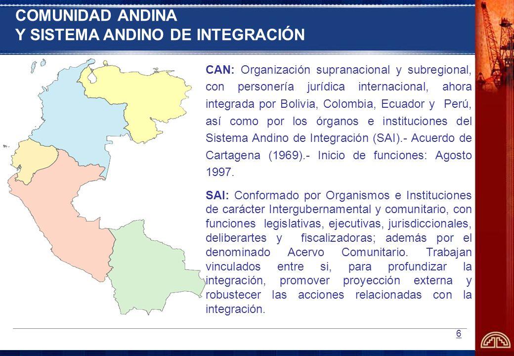 6 CAN: Organización supranacional y subregional, con personería jurídica internacional, ahora integrada por Bolivia, Colombia, Ecuador y Perú, así com