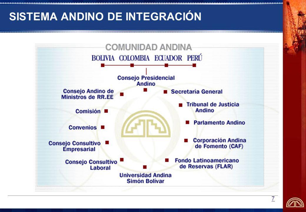 8 TIPOLOGÍA DEL SISTEMA INSTITUCIONAL ANDINO Ámbito Intergubernamental: Político (CPA); Organos Decisorios (CAMRE y CCA); Consultivos (Consejos de Ministros y Asesoramiento (Comités Técnicos).- Representación formal de los Gobiernos.