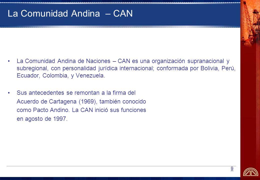 9 La Comunidad Andina – CAN La Comunidad Andina de Naciones – CAN es una organización supranacional y subregional, con personalidad jurídica internaci