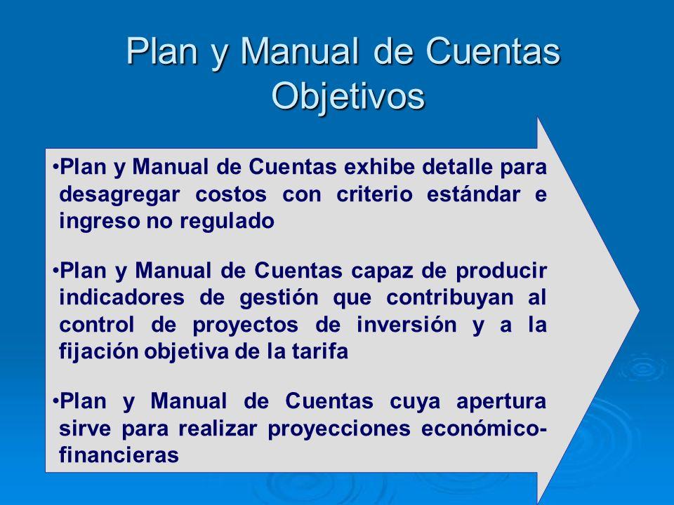Plan y Manual de Cuentas exhibe detalle para desagregar costos con criterio estándar e ingreso no regulado Plan y Manual de Cuentas capaz de producir