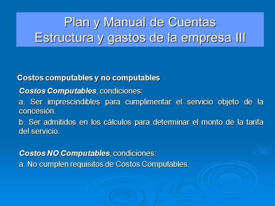 Costos Computables, condiciones: a. Ser imprescindibles para cumplimentar el servicio objeto de la concesión. b. Ser admitidos en los cálculos para de