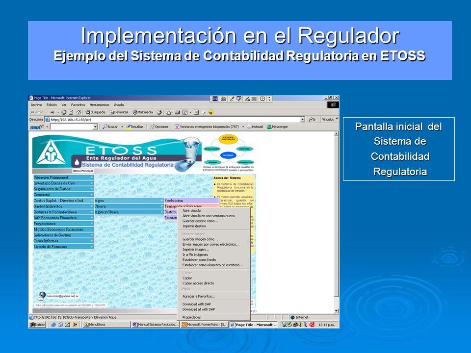 Pantalla inicial del Sistema de Sistema de Contabilidad Contabilidad Regulatoria Regulatoria Implementación en el Regulador Ejemplo del Sistema de Con