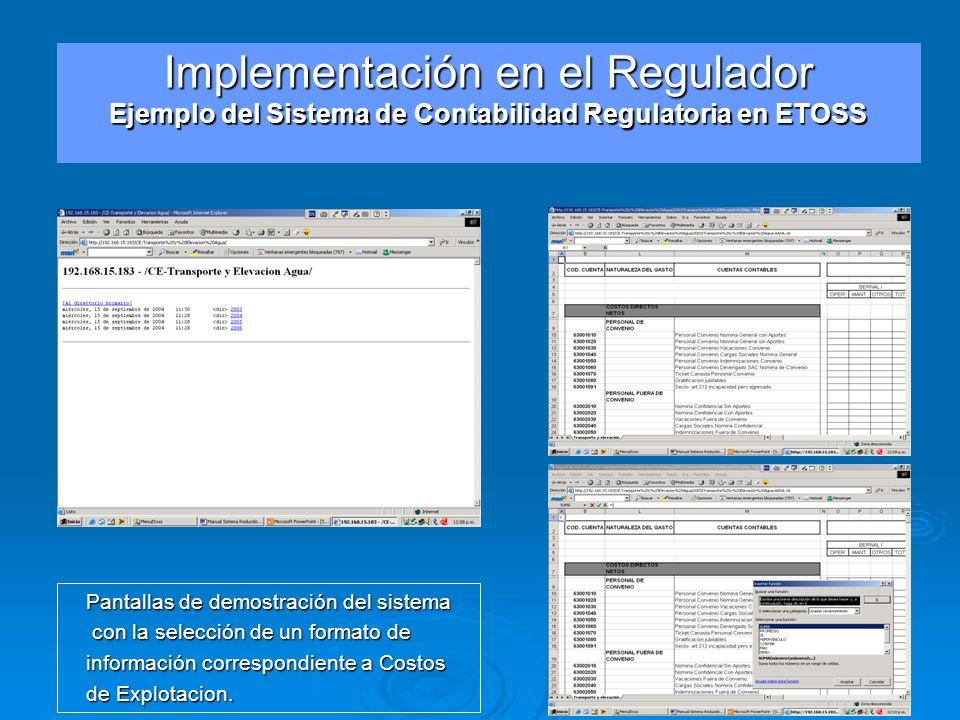 Pantallas de demostración del sistema con la selección de un formato de con la selección de un formato de información correspondiente a Costos de Expl
