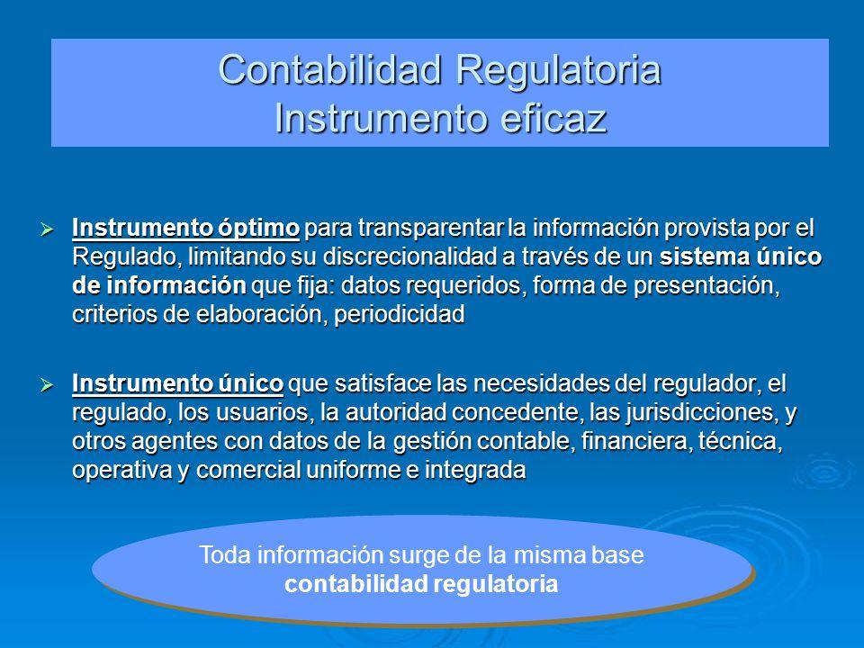 Contabilidad Regulatoria Instrumento eficaz Instrumento óptimo para transparentar la información provista por el Regulado, limitando su discrecionalid