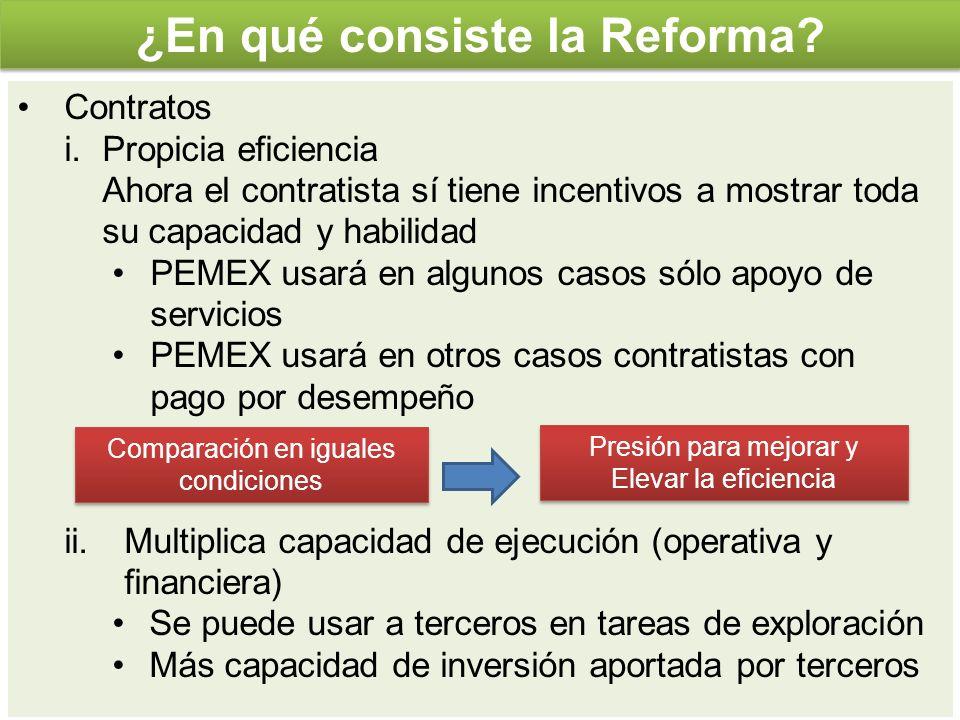 Contratos i.Propicia eficiencia Ahora el contratista sí tiene incentivos a mostrar toda su capacidad y habilidad PEMEX usará en algunos casos sólo apo