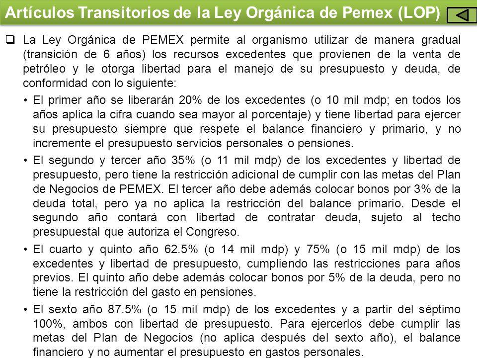 Artículos Transitorios de la Ley Orgánica de Pemex (LOP) La Ley Orgánica de PEMEX permite al organismo utilizar de manera gradual (transición de 6 año