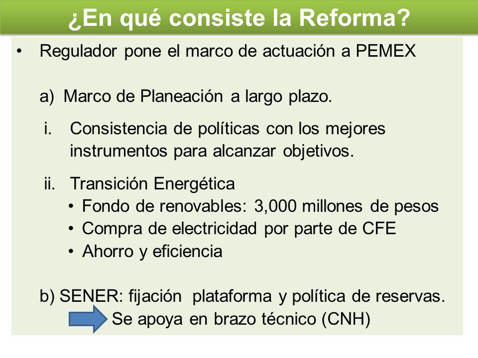 ¿En qué consiste la Reforma? Regulador pone el marco de actuación a PEMEX a)Marco de Planeación a largo plazo. i.Consistencia de políticas con los mej