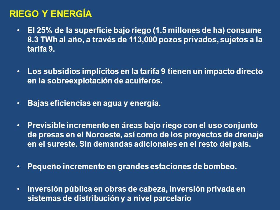 El 25% de la superficie bajo riego (1.5 millones de ha) consume 8.3 TWh al año, a través de 113,000 pozos privados, sujetos a la tarifa 9.