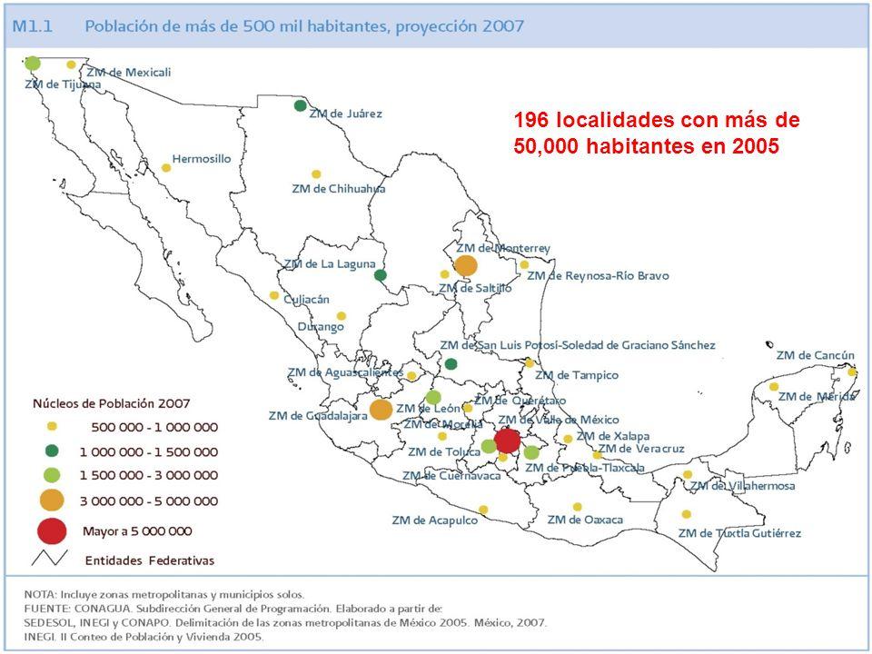 196 localidades con más de 50,000 habitantes en 2005
