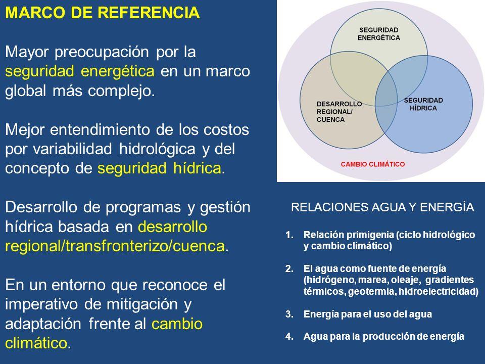 GESTIÓN HÍDRICA Gestión por cuencas Presas Control de inundaciones Caudales ambientales Derechos de agua AGUAAGUA ENERGÍAENERGÍA RIEGO APS ENERGÍA INDUST.