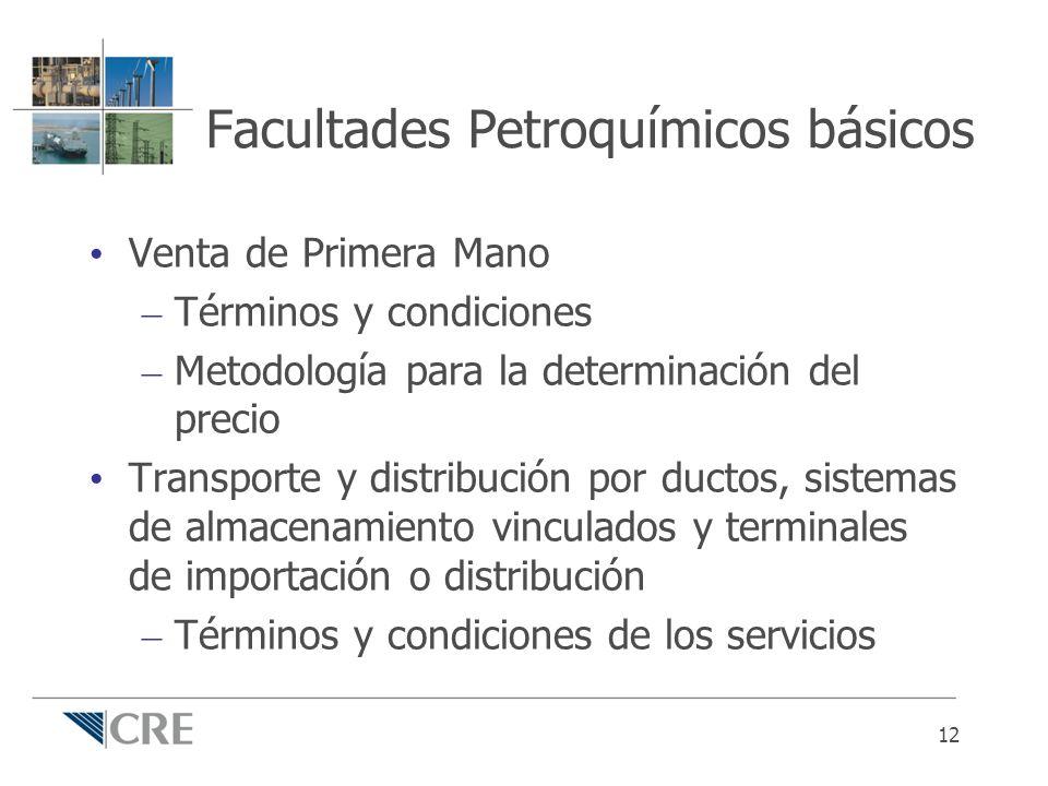 Facultades Petroquímicos básicos Venta de Primera Mano – Términos y condiciones – Metodología para la determinación del precio Transporte y distribuci