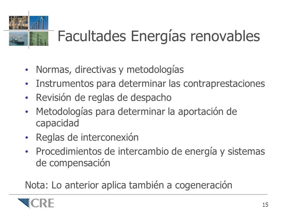 Facultades Energías renovables Normas, directivas y metodologías Instrumentos para determinar las contraprestaciones Revisión de reglas de despacho Me