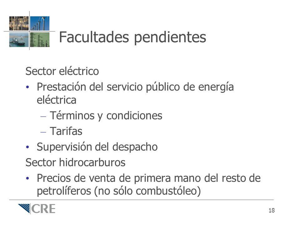 Facultades pendientes Sector eléctrico Prestación del servicio público de energía eléctrica – Términos y condiciones – Tarifas Supervisión del despach