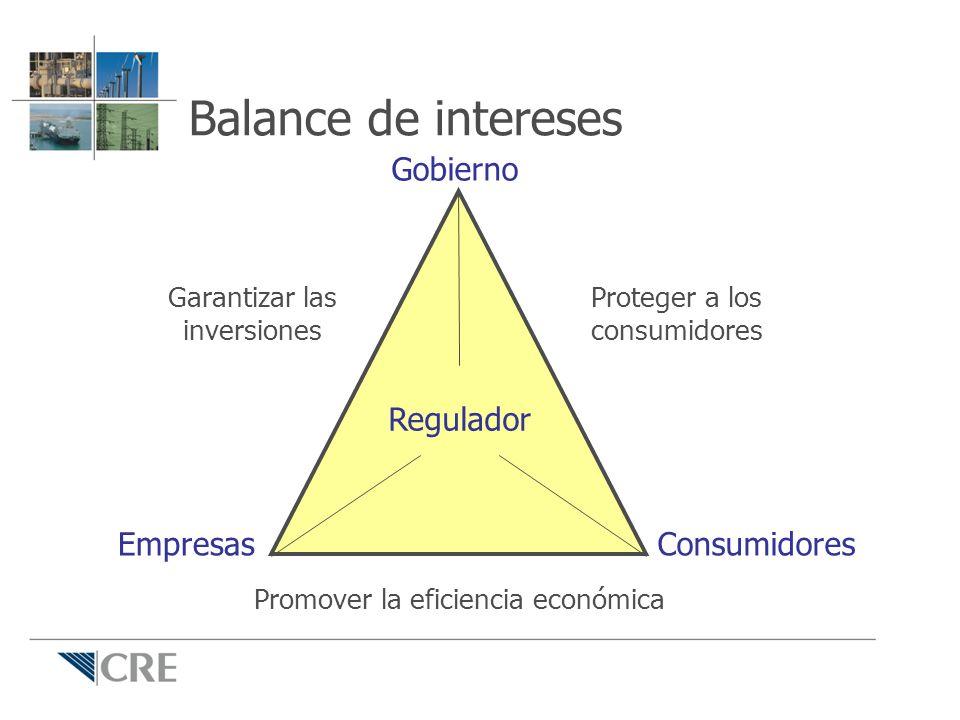 Garantizar las inversiones Proteger a los consumidores Promover la eficiencia económica Regulador Gobierno ConsumidoresEmpresas Balance de intereses