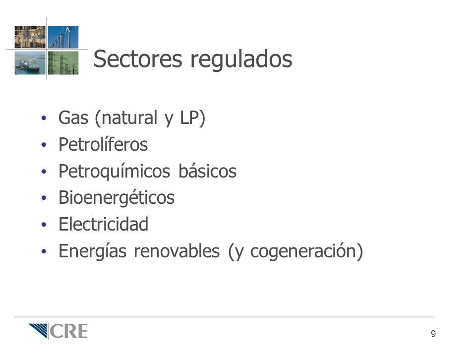 Sectores regulados Gas (natural y LP) Petrolíferos Petroquímicos básicos Bioenergéticos Electricidad Energías renovables (y cogeneración) 9