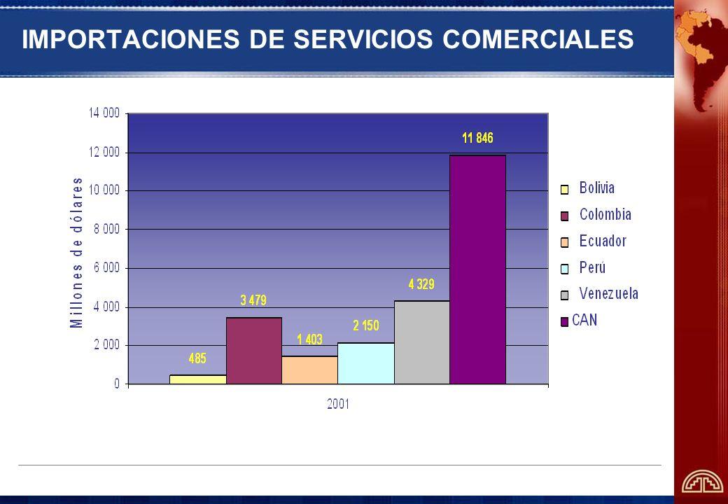 BALANZA COMERCIAL DE SERVICIOS 5 687 11 846 14 327 24 818 3 931 4 523 0 5 000 10 000 15 000 20 000 25 000 CANMERCOSURChile (Millones de dólares) - 2001 Exportaciones Importaciones