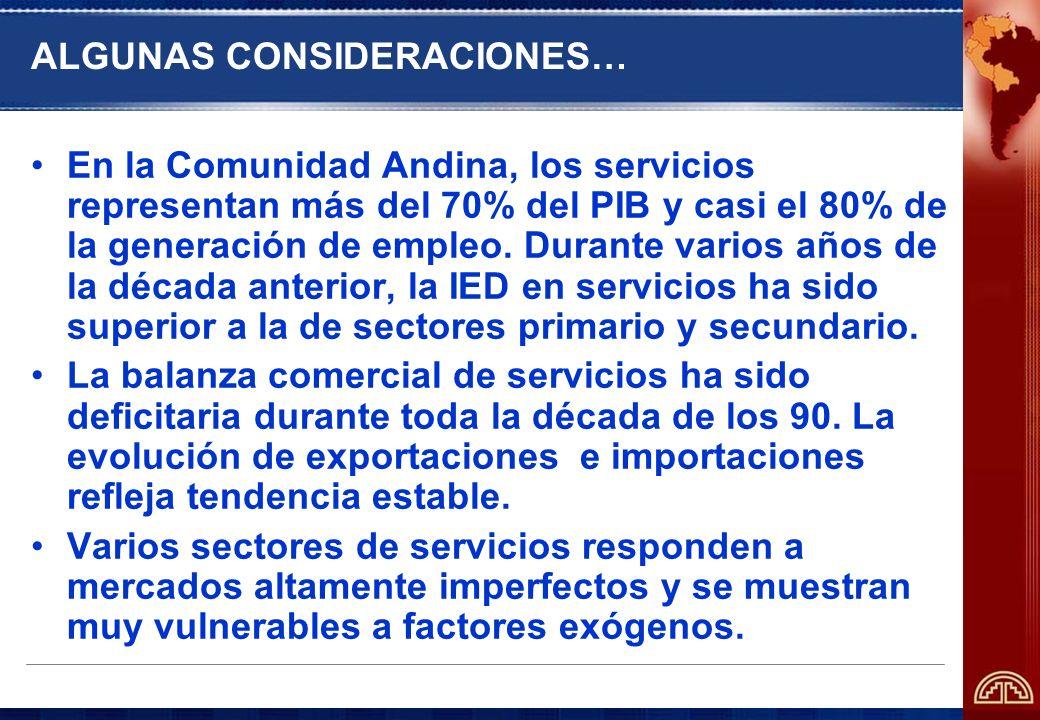 ALGUNAS CONSIDERACIONES… En la Comunidad Andina, los servicios representan más del 70% del PIB y casi el 80% de la generación de empleo. Durante vario