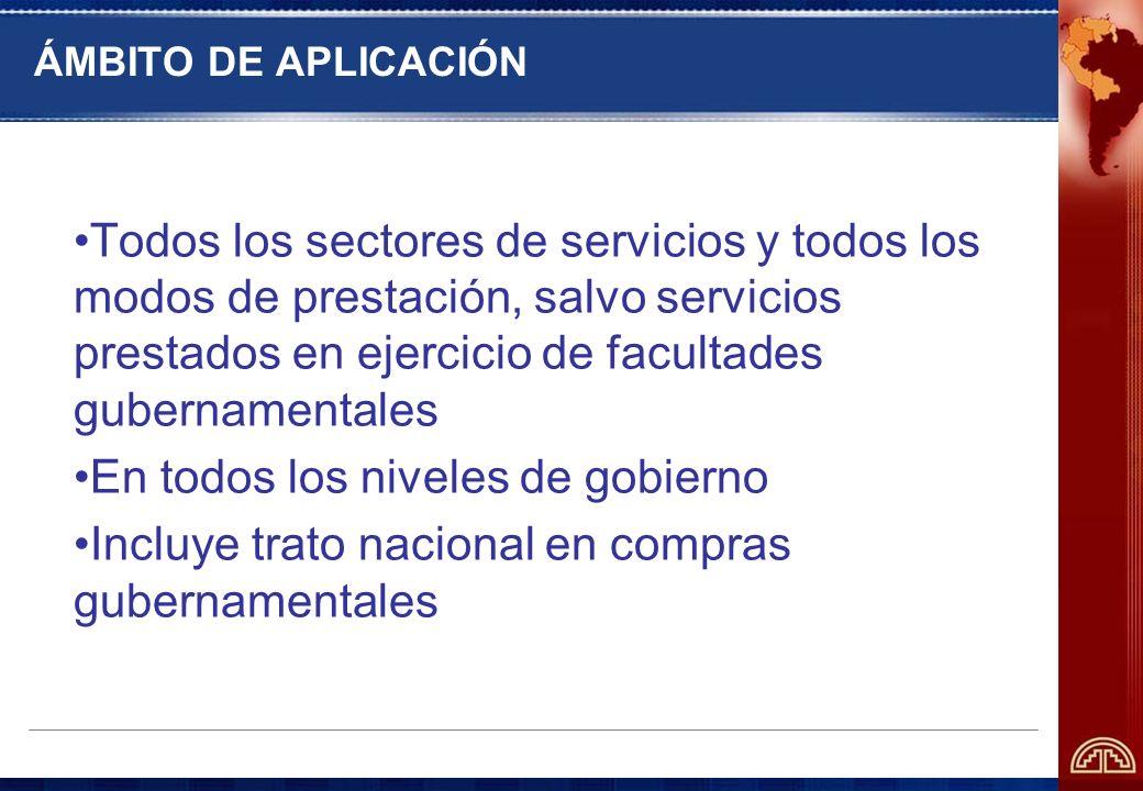 ÁMBITO DE APLICACIÓN Todos los sectores de servicios y todos los modos de prestación, salvo servicios prestados en ejercicio de facultades gubernament