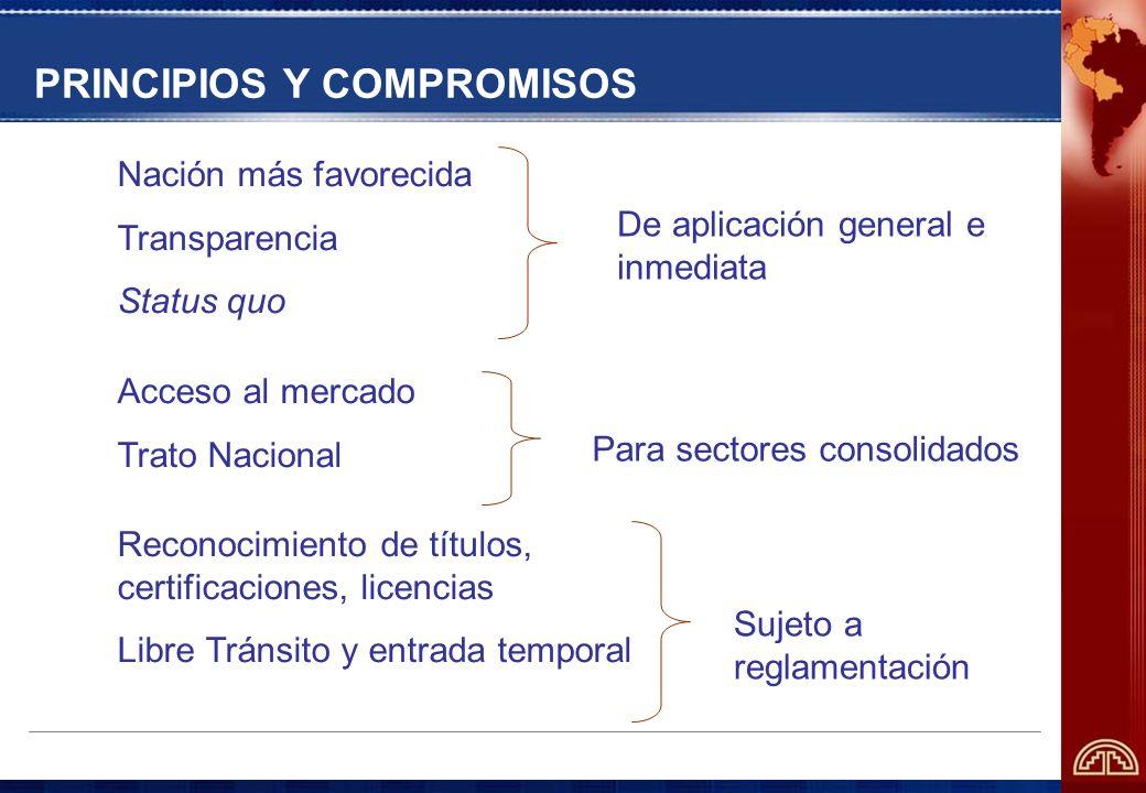 PRINCIPIOS Y COMPROMISOS Nación más favorecida Transparencia Status quo Acceso al mercado Trato Nacional Reconocimiento de títulos, certificaciones, l