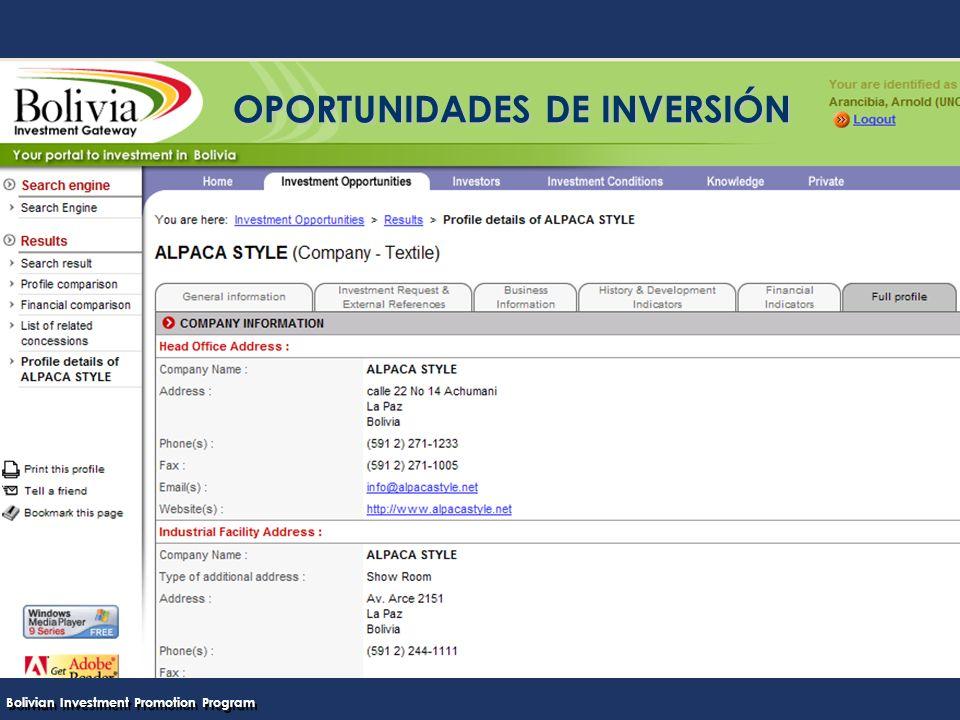 Bolivian Investment Promotion Program UNCTAD Programa Boliviano de Promoción de Inversiones OPORTUNIDADES DE INVERSIÓN