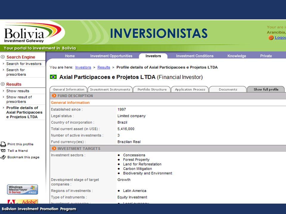 Bolivian Investment Promotion Program UNCTAD Programa Boliviano de Promoción de Inversiones INVERSIONISTAS