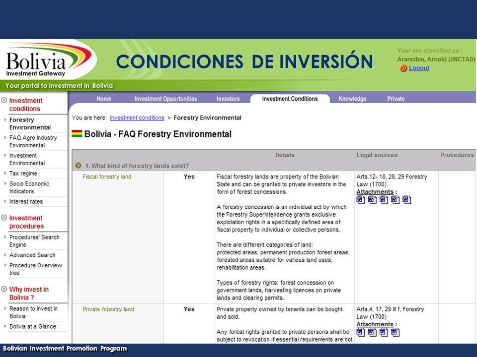 Bolivian Investment Promotion Program UNCTAD Programa Boliviano de Promoción de Inversiones CONDICIONES DE INVERSIÓN