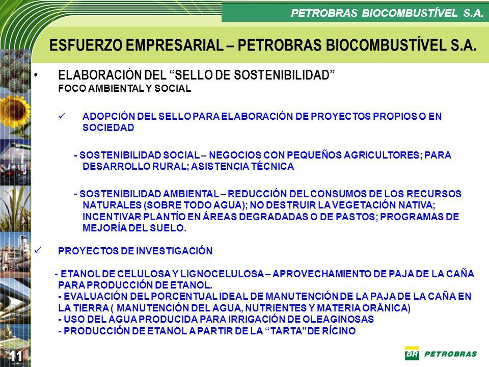 Confidencial 11 PLANO ESTRATÉGICO PETROBRAS BIOCOMBUSTÍVEL ESFUERZO EMPRESARIAL – PETROBRAS BIOCOMBUSTÍVEL S.A. ELABORACIÓN DEL SELLO DE SOSTENIBILIDA