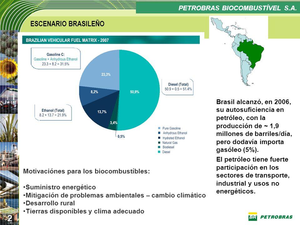 Confidencial 2 PLANO ESTRATÉGICO PETROBRAS BIOCOMBUSTÍVEL ESCENARIO BRASILEÑO Brasil alcanzó, en 2006, su autosuficiencia en petróleo, con la producci