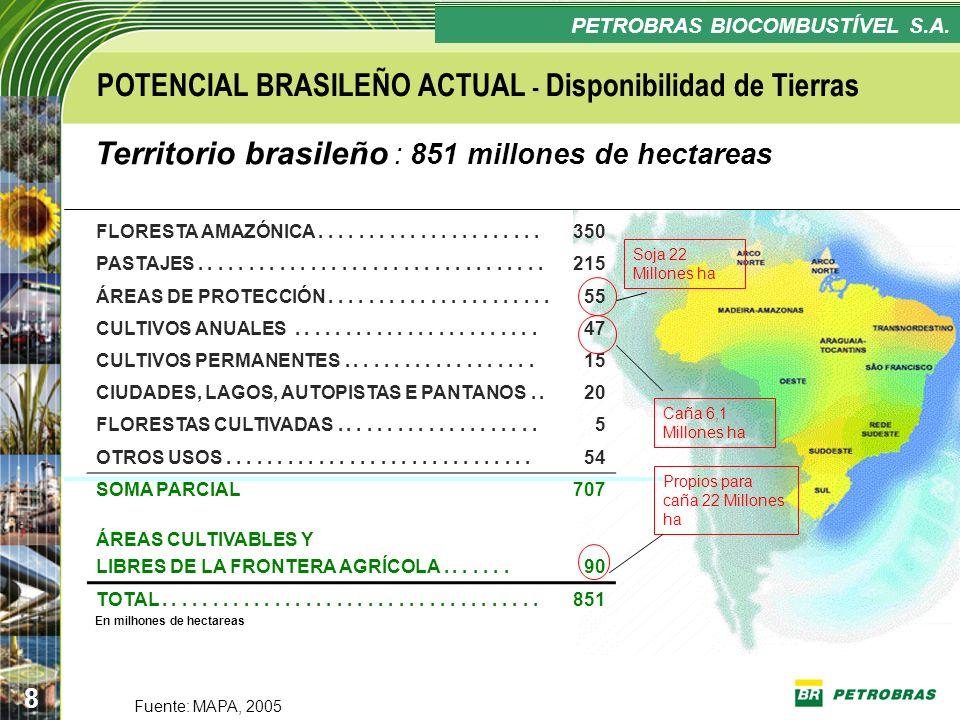 Confidencial 8 PLANO ESTRATÉGICO PETROBRAS BIOCOMBUSTÍVEL - POTENCIAL BRASILEÑO ACTUAL - Disponibilidad de Tierras Fuente: MAPA, 2005 Territorio brasi