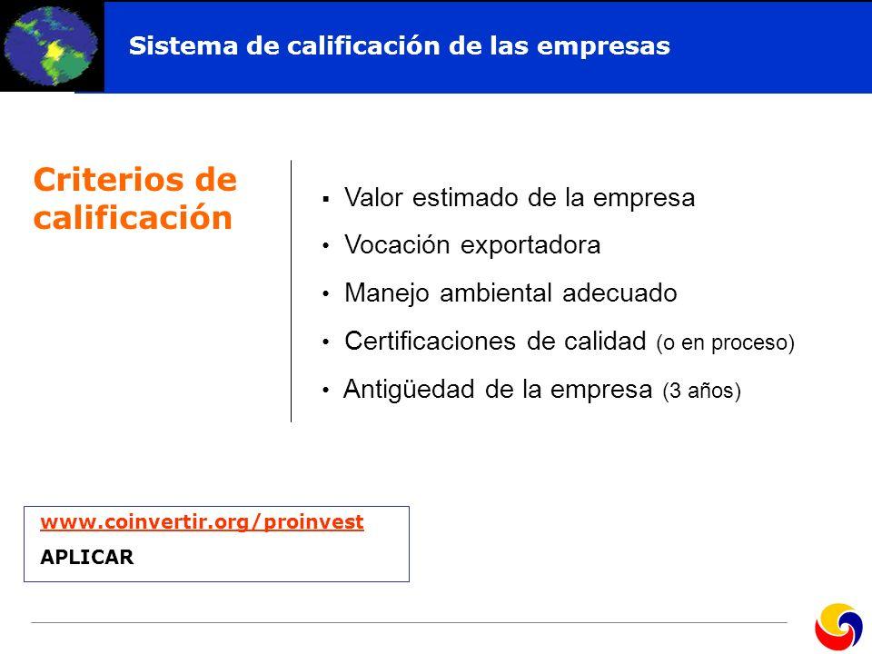 Click to edit Master title style Criterios de calificación Sistema de calificación de las empresas Valor estimado de la empresa Vocación exportadora M